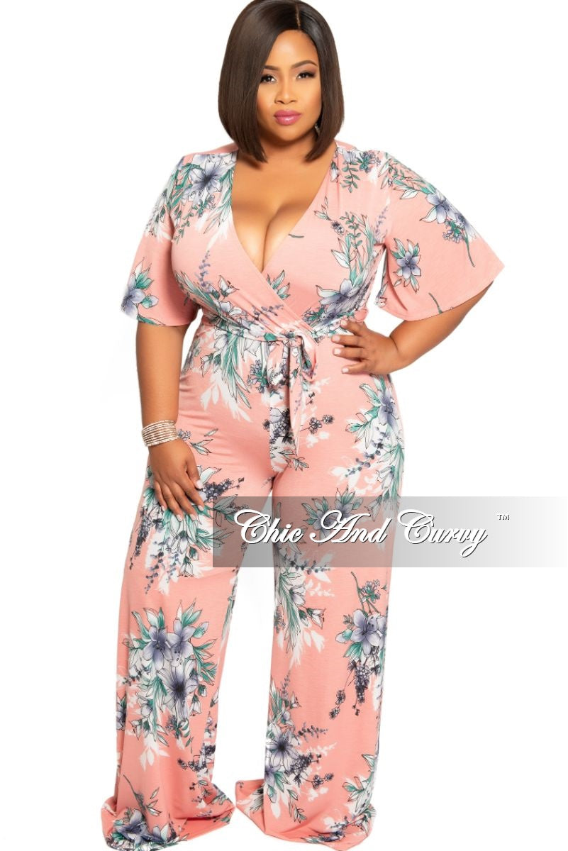 New Plus Size Faux Wrap Jumpsuit with Attached Tie in Pink Floral Print