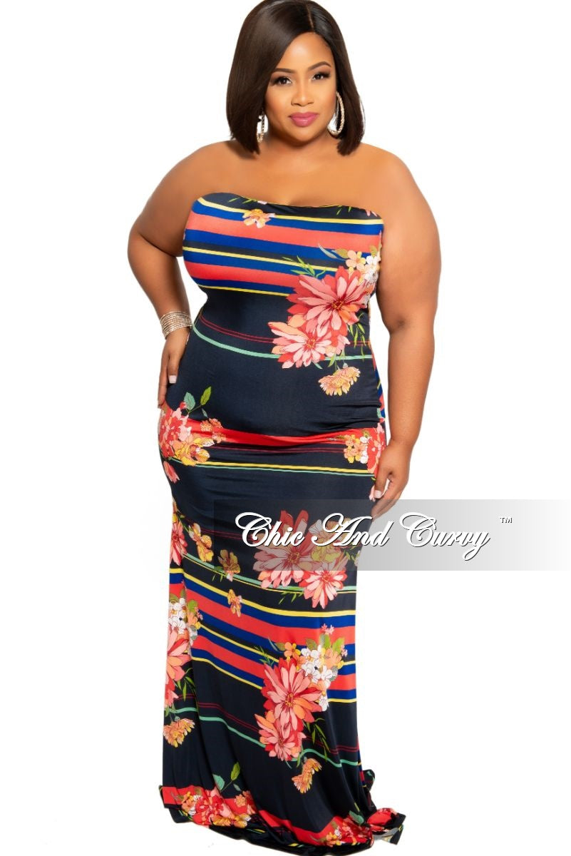 New Plus Size Strapless Maxi Dress in Black Floral Multi Color Stripe Print