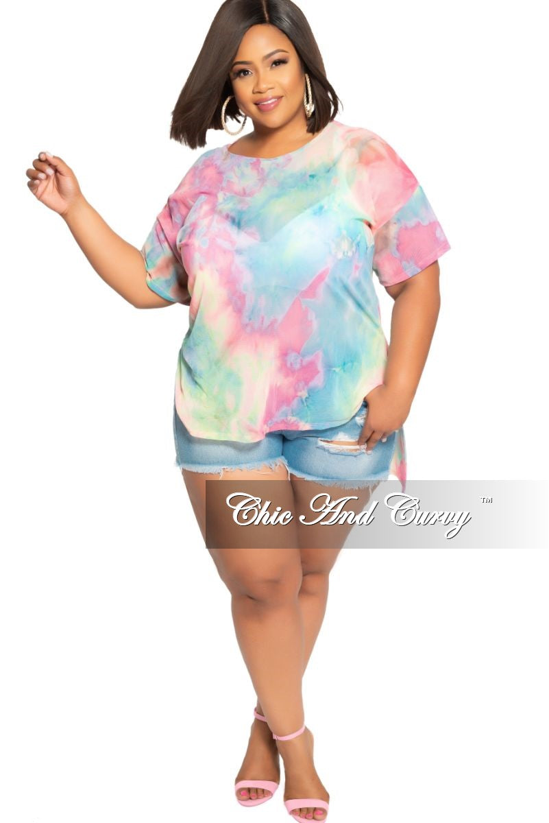 Final Sale Plus Size Mesh High-Low Top with Side Slits in Multi Color Tie Dye Print