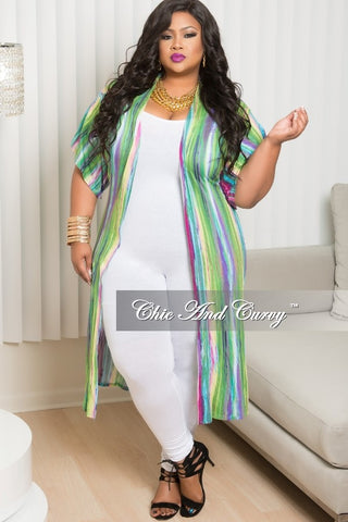 New Plus Size Duster with Back Cutouts in Green, Mint and  Yellow