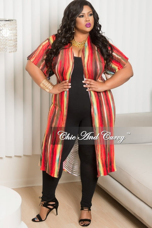 35% Off Sale - Final Sale  Plus Size Duster with Back Cutouts in Red, Brown, and Navy