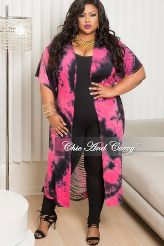 New Plus Size Tie Dye Duster with Back Cutouts in Fuchsia and Black