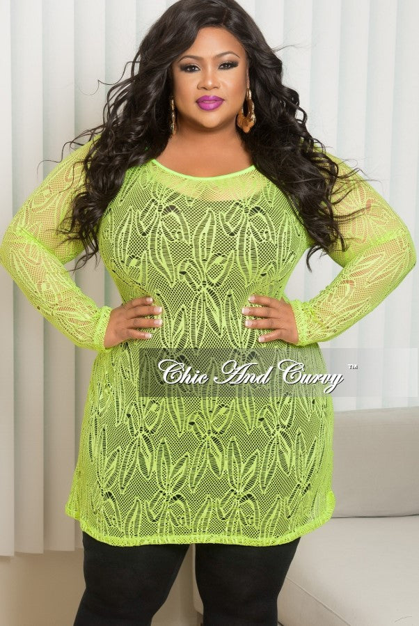Final Sale Plus Size Long Sleeve Lace Netting Design Top in Puce/Neon Green