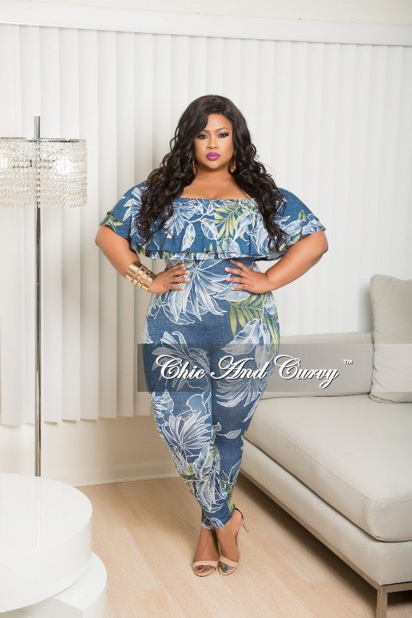 New Plus Size Ruffle Jumpsuit in Blue, Green and White