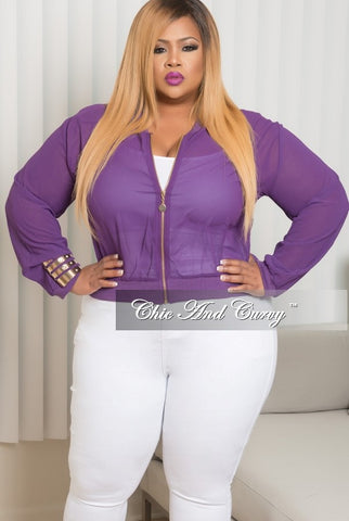 New Plus Size Mesh Bomber Jacket in Purple