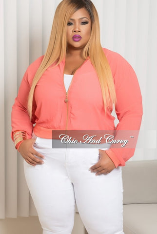 New Plus Size Mesh Bomber Jacket in Coral
