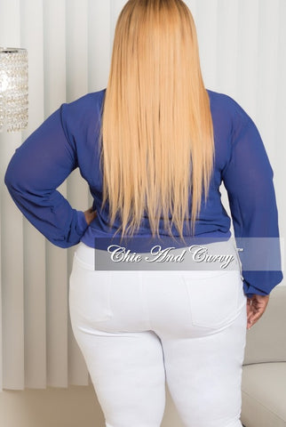 Final Sale Plus Size Mesh Bomber Jacket in Blue