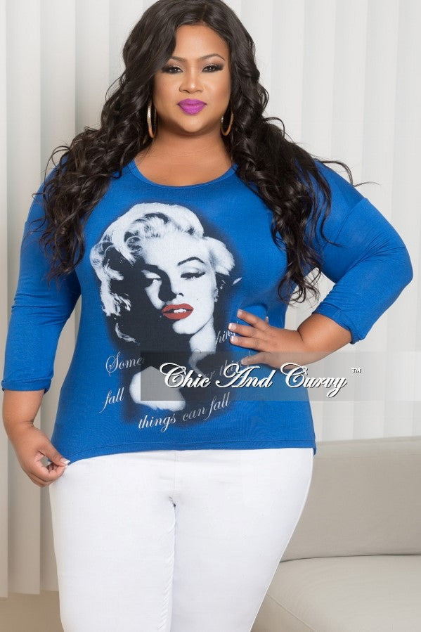 325a8452d9939 Final Sale Plus Size Plus Size Marilyn Monroe Long Sleeve Top with Shr –  Chic And Curvy