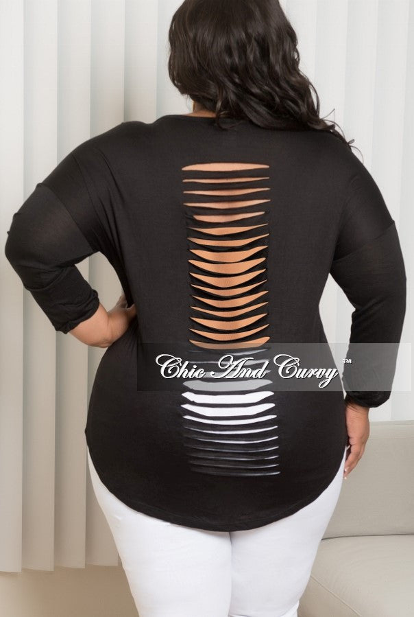 New Plus Size Plus Size Marilyn Monroe Long Sleeve Top with Shredded Back in Black