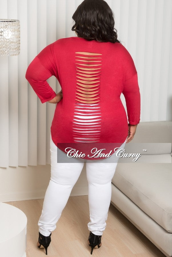 New Plus Size Plus Size Marilyn Monroe Long Sleeve Top with Shredded Back in Red