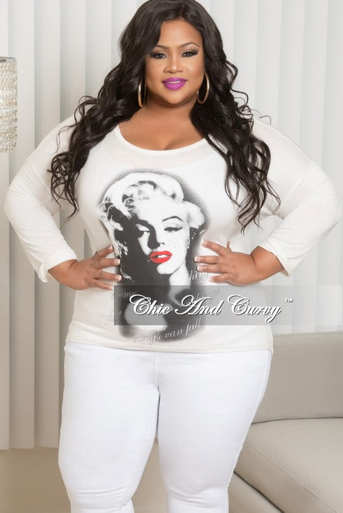 39c98ce4fcdbe7 Final Sale Plus Size Marilyn Monroe Long Sleeve Top with Shredded Back in  Off White