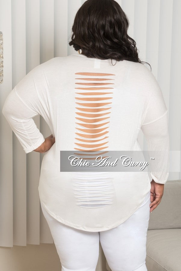 4d3e7f2db90eb Final Sale Plus Size Marilyn Monroe Long Sleeve Top with Shredded Back in  Off White