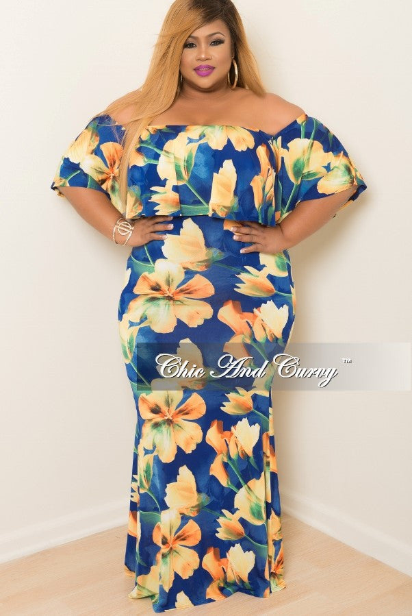 New Plus Size BodyCon Dress with Top Ruffle in Royal Blue, Yellow and Green Floral Print
