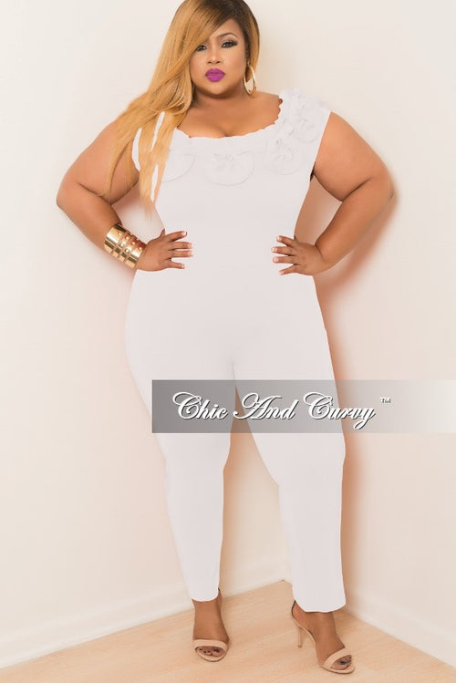 Final Sale Plus Size Jumpsuit with Top Ruffles in Off White
