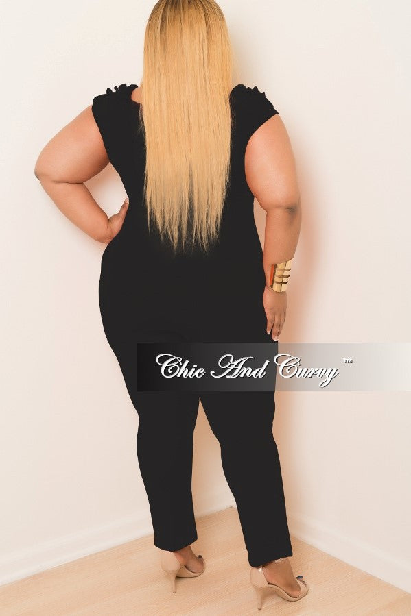 New Plus Size Jumpsuit with Top Ruffles in Black