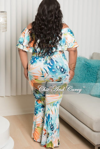 New Plus Size 2 Piece Ruffle Top and Pant Set in White, Teal, Green and Orange