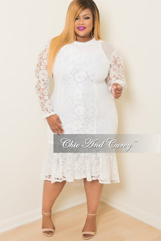 Final Sale Plus Size BodyCon Lace Dress with Tail in White