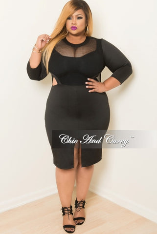 Final Sale Plus Size Long Sleeve Netted BodyCon Dress with Open Sides and Front Slit in Black
