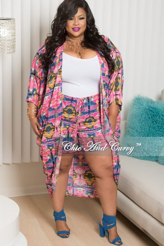 50% Off Sale - Final Sale Plus Size 2 Piece Coat and Short Set in Pink, Navy and Yellow