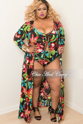 Final Sale Plus Size 2-Piece Play Suit and Coat Set in Black, Turquoise Red and Green