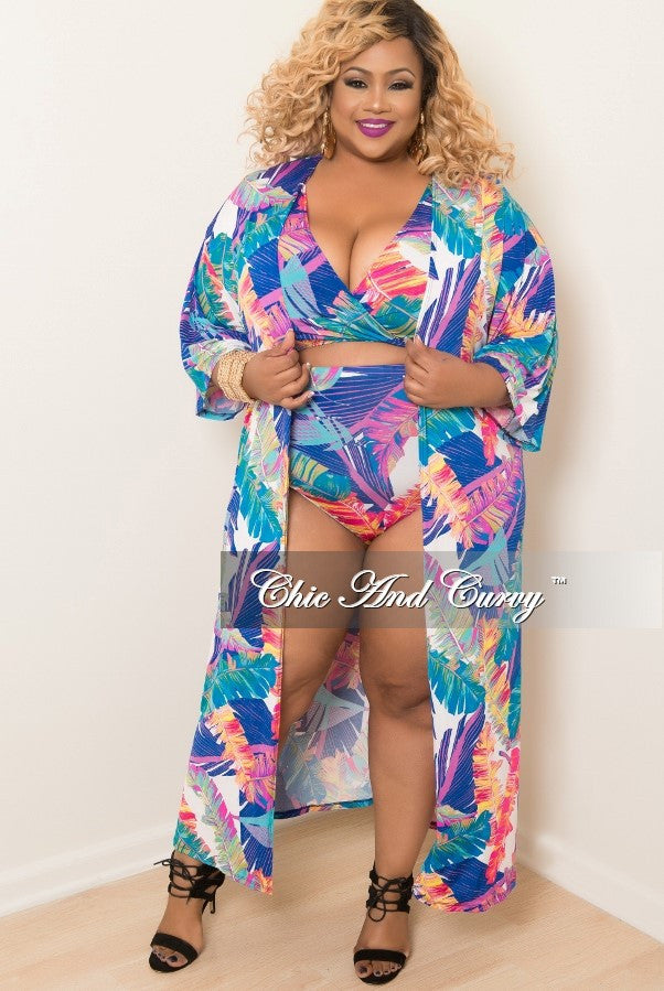 Final Sale Plus Size 3 Piece Play Suit Faux Wrap Crop Top with High Waist Bottom and Matching Coat in Royal Blue Print