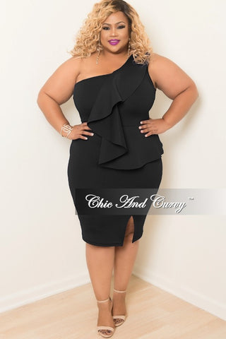 New Plus Size One Shoulder BodyCon Ruffle Dress with Front Slit in Black