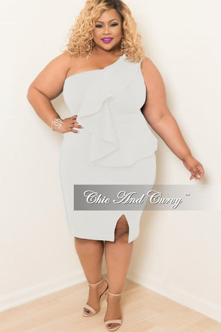 Final Sale Plus Size One Shoulder BodyCon Ruffle Dress with Front Slit in Off White