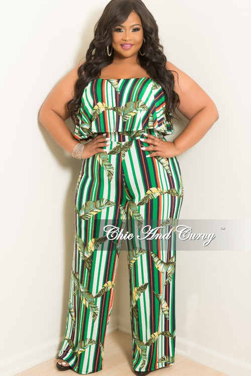 New Plus Size Strapless Jumpsuit with Ruffle Layered Top and Attached Tie in Multi Color Striped Leaf Print