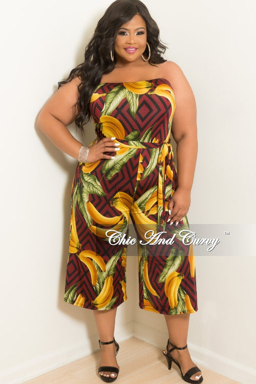 New Plus Size Strapless Banana Leaf Printed Loose Fitted Jumpsuit with Attached Tie in Burgundy
