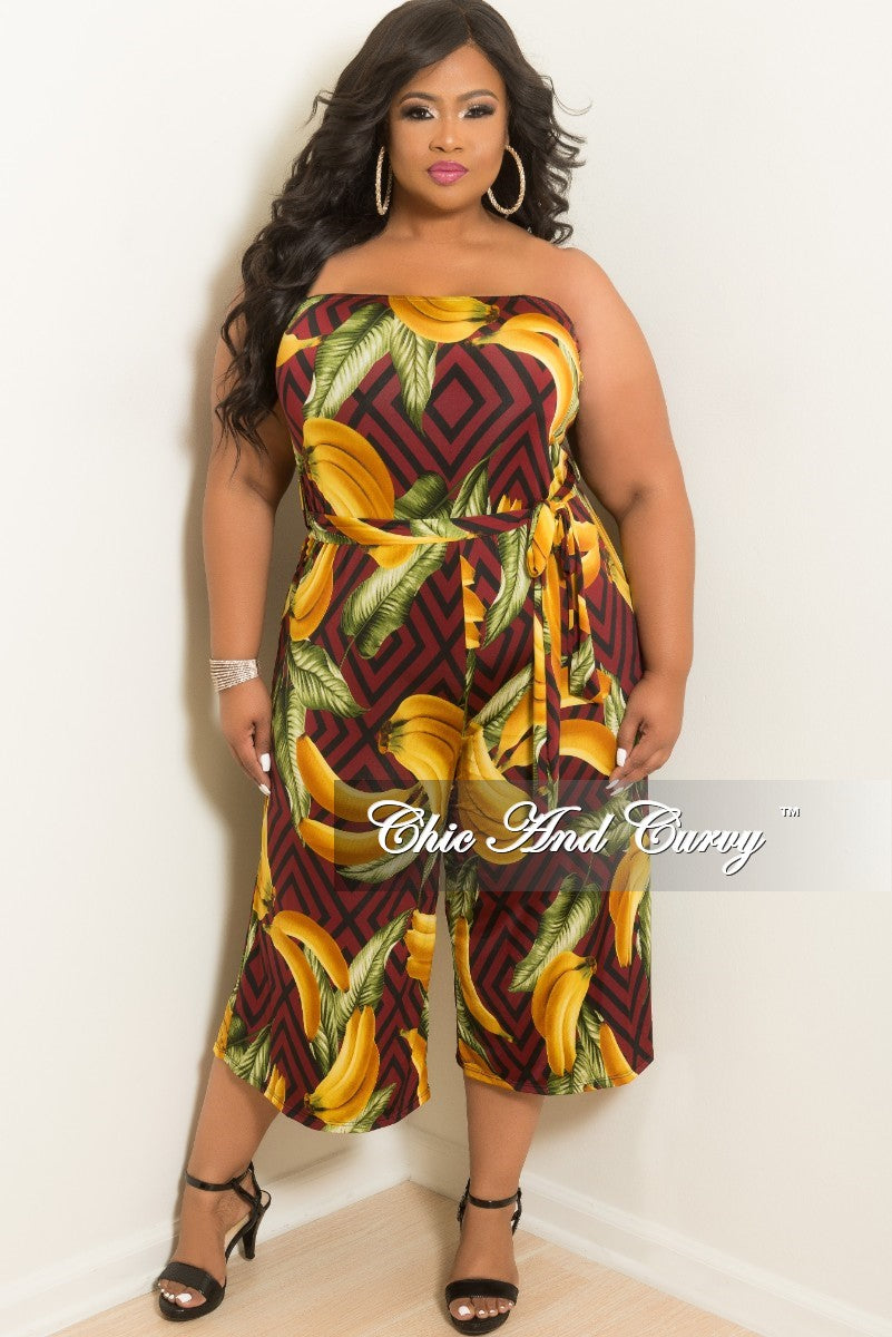 Final Sale Plus Size Strapless Banana Leaf Printed Loose Fitted Jumpsuit with Attached Tie in Burgundy
