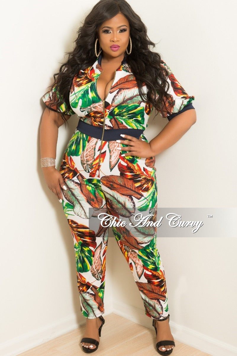New Plus Size Zip-Up Jumpsuit in White Multi Color Leaf Print