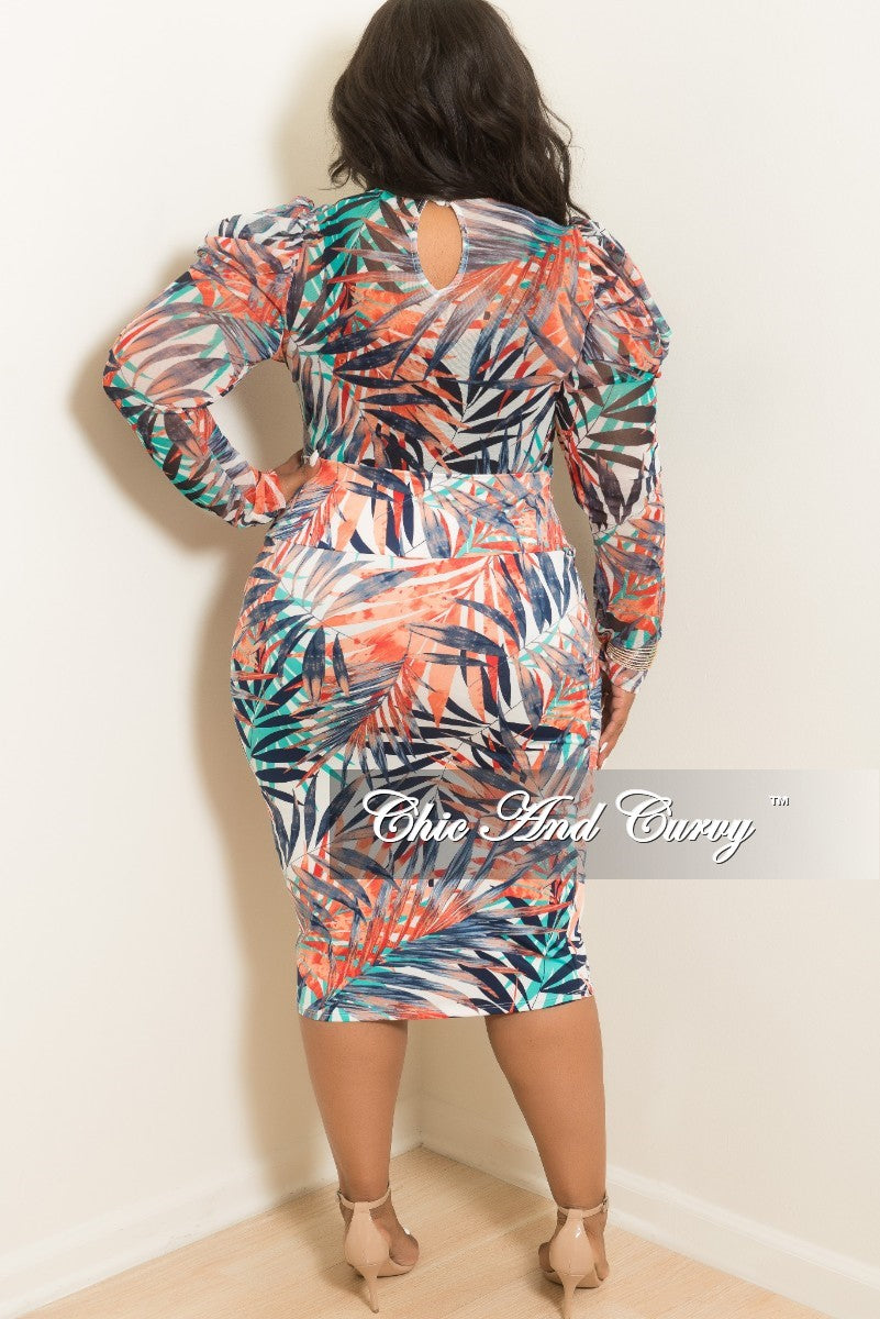 Final Sale Plus Size 2-Piece Leaf Printed Mesh Bodysuit Top and Pencil Skirt Set Red Navy White and Green