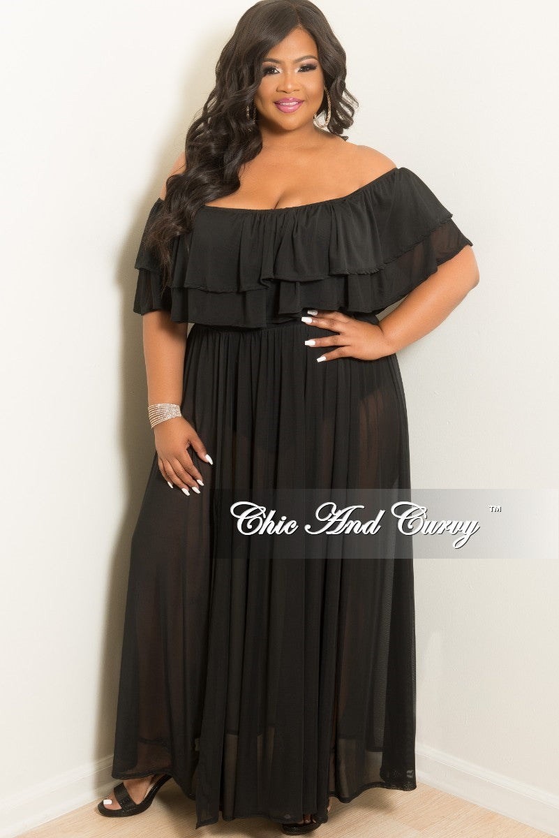 Final Sale Plus Size Off the Shoulder Mesh Ruffle Bodysuit Dress in Black