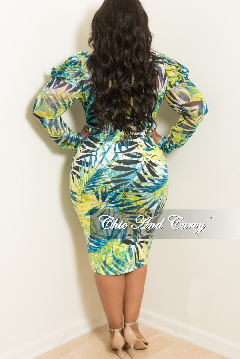 Final Sale Plus Size 2-Piece Leaf Printed Mesh Bodysuit Top and Pencil Skirt Set in Green Yellow White Blue and Black