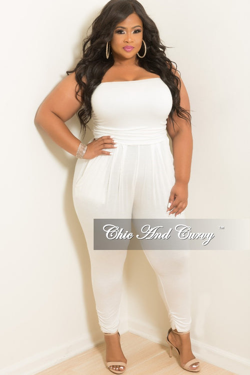 3b97fd89be7 Final Sale Plus Size Strapless Tube Jumpsuit in Off White
