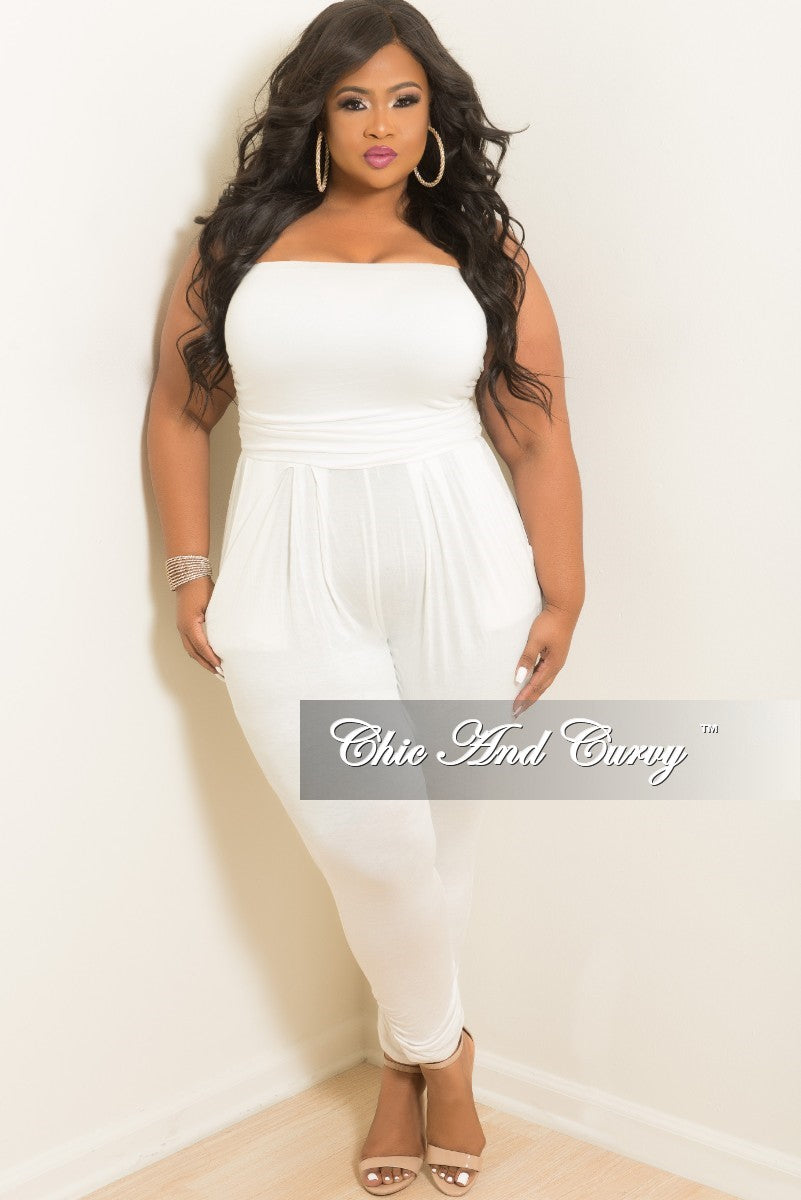 cc7532b0db69 Final Sale Plus Size Strapless Tube Jumpsuit in Off White – Chic And Curvy