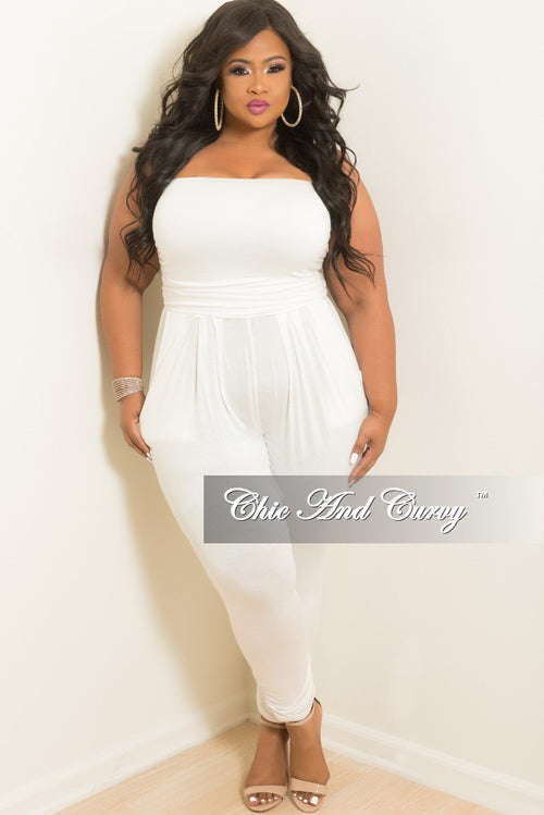 Final Sale Plus Size Strapless Tube Jumpsuit in Off White