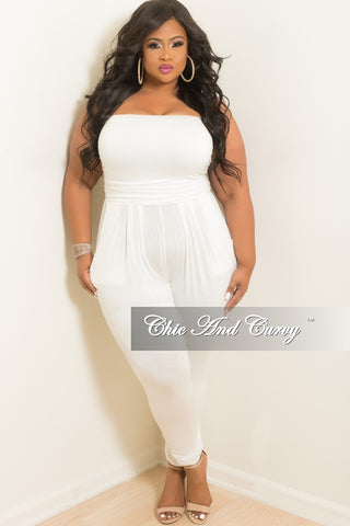 New Plus Size Strapless Ruffle Jumpsuit in Cheetah Print