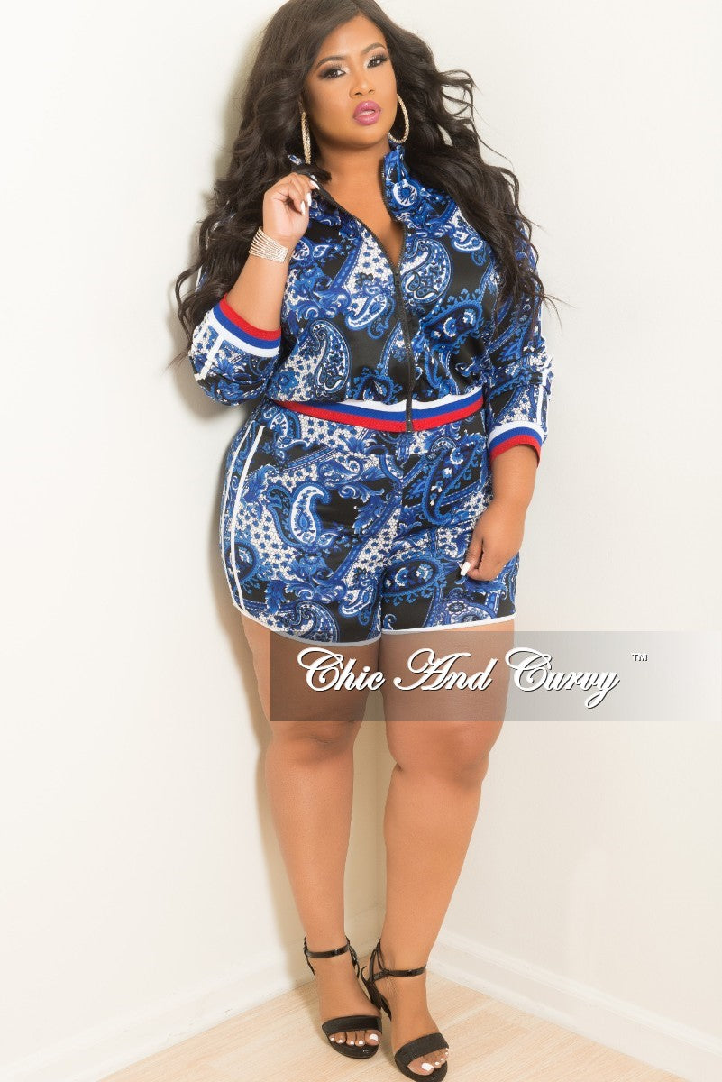 fa843c8b3f6 New Plus Size 2-Piece Zip-Up Jacket and Short Set in Royal Blue and Bl –  Chic And Curvy