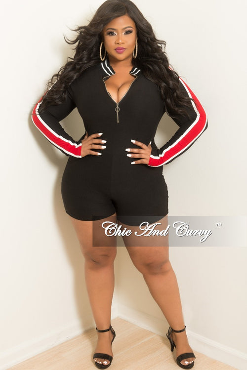 New Plus Size Long Sleeve Zip-Up Romper in Black with Red and White Trim