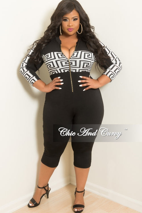 New Plus Size Zip-Up Length Jumpsuit in Black and White