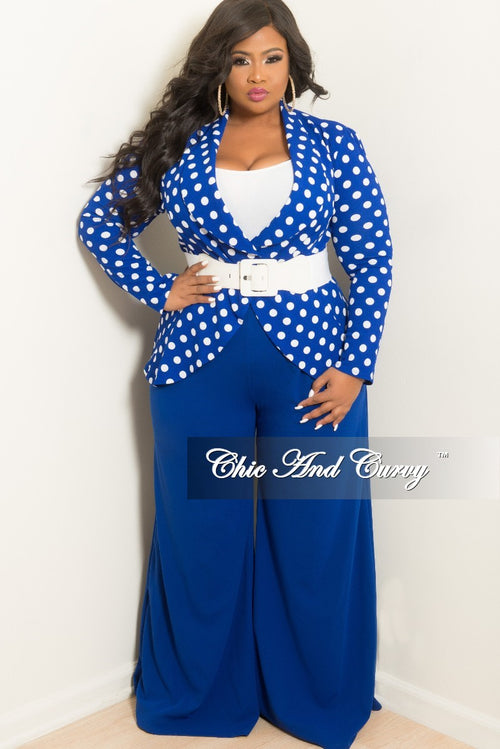 New Plus Size 2-Piece Polka Dot Blazer and Wide Leg Pants Suit in Royal Blue and White