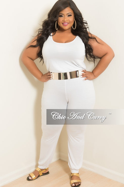 Final Sale Plus Size Sleeveless Jumpsuit in White