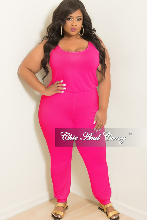 New Plus Size Sleeveless Jumpsuit in Hot Pink