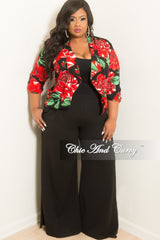 Final Sale Plus Size 2-Piece Floral Blazer and Wide Leg Pants Suit in Red Green and Black