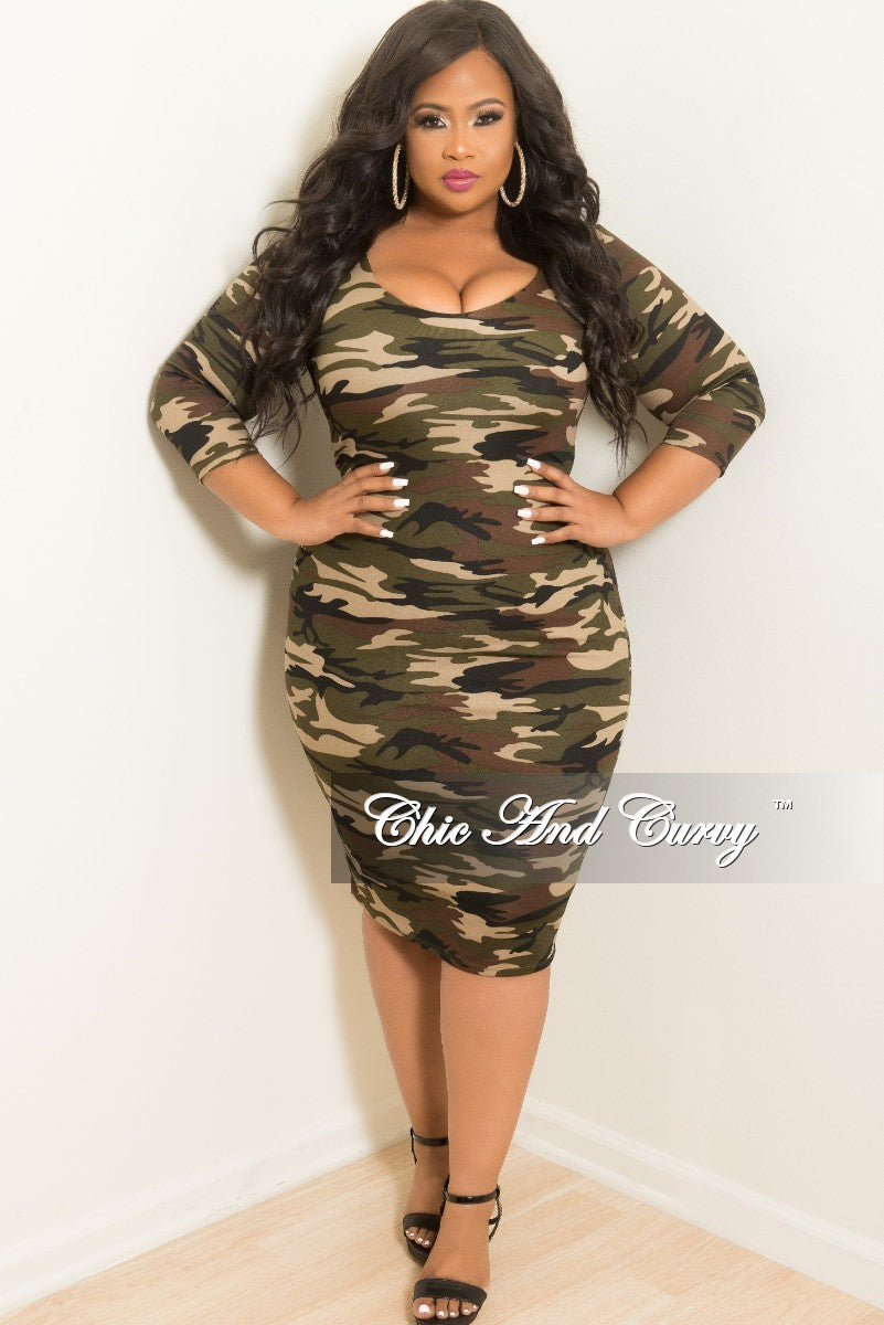 Final Sale Plus Size BodyCon Dress in Camouflage Print