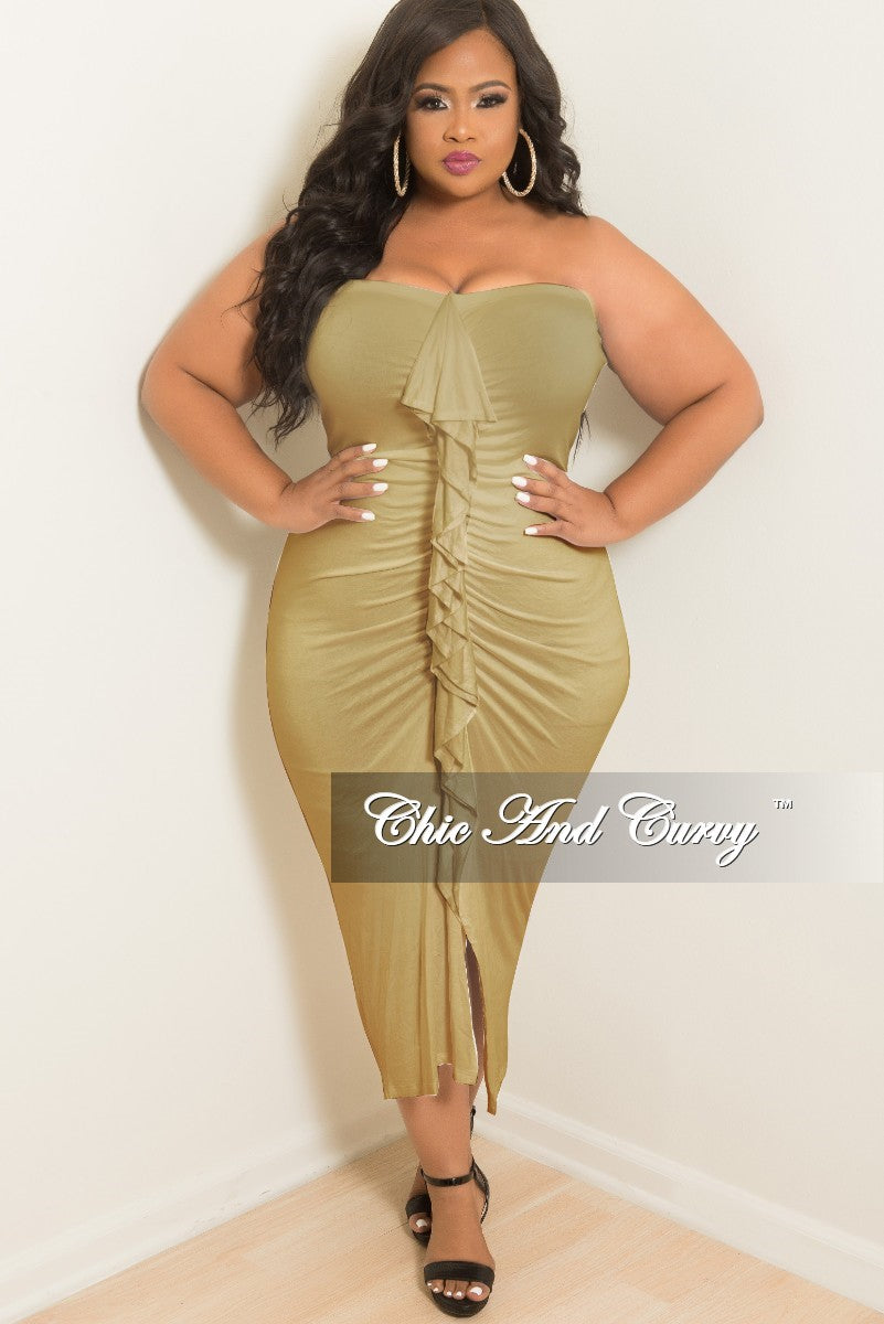 0f1654eab6 Final Sale Plus Size BodyCon Tube Dress with Center Ruffle and Front S –  Chic And Curvy