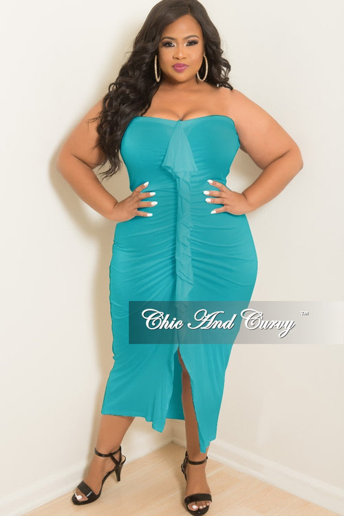 Final Sale Plus Size BodyCon Tube Dress with Center Ruffle and Front Slit in Teal