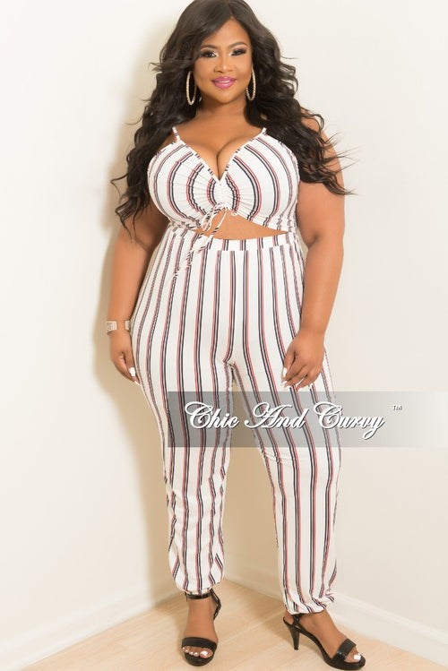 Final Sale Plus Size Jumpsuit With Cut Out Front & Adjustable Spaghetti Strings in White with Red and Navy Stripes (Seasonal)