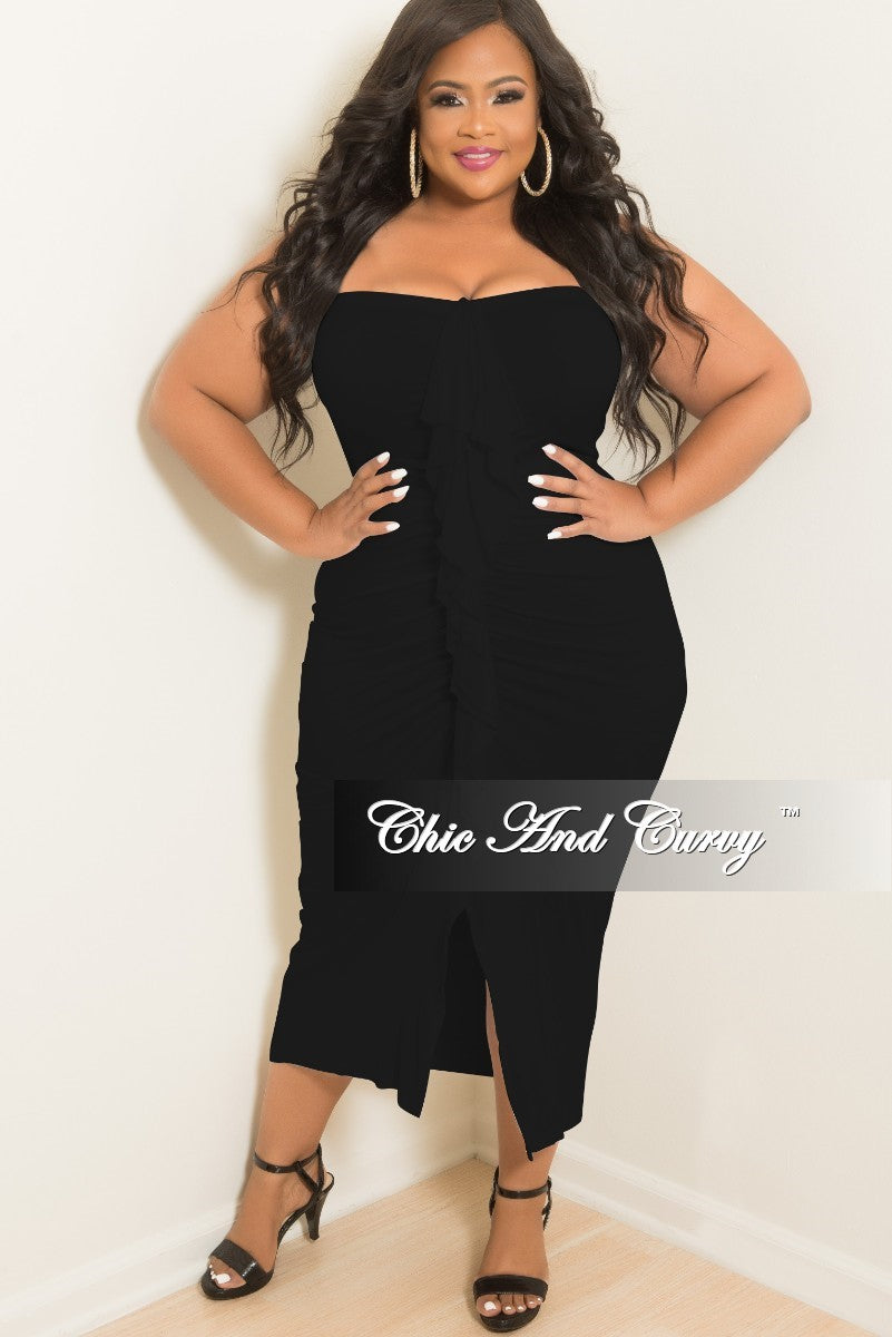 New Plus Size BodyCon Tube Dress with Center Ruffle and Front Slit in Black